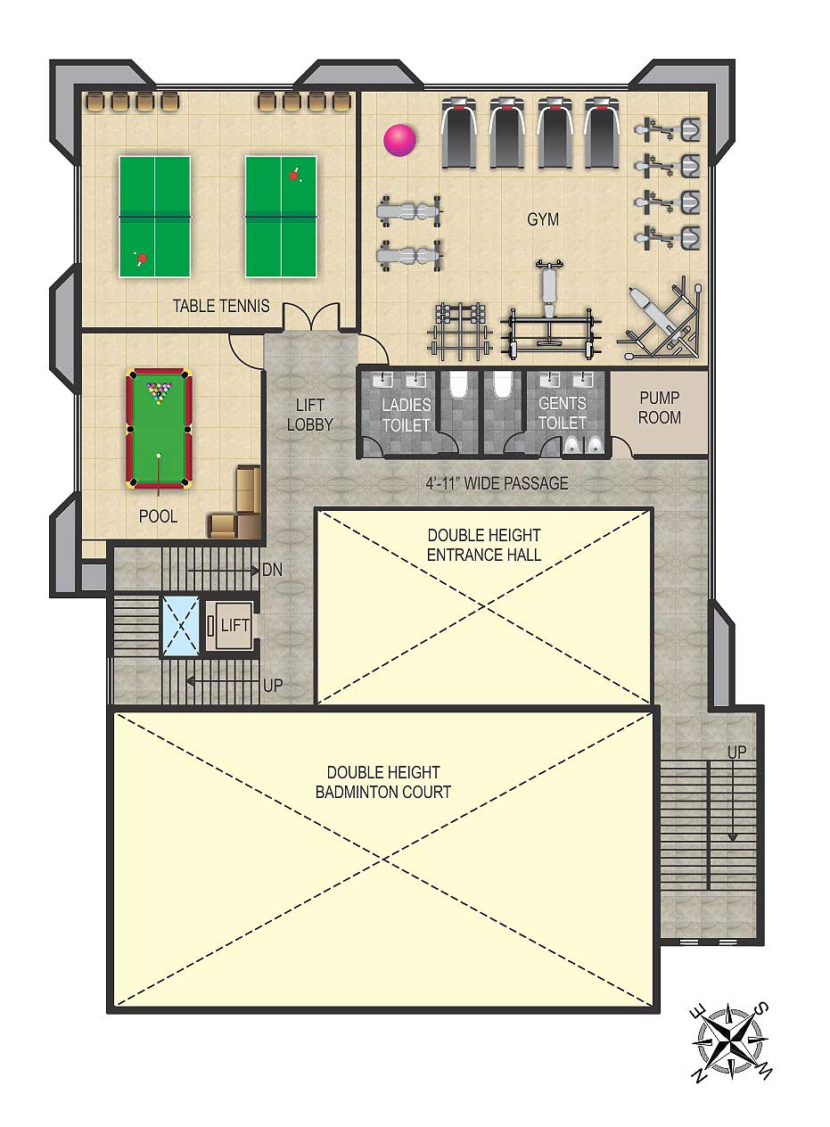 Ideal grand floor plans 2bhk 3bhk 4bhk luxury flats for Ideal house plan